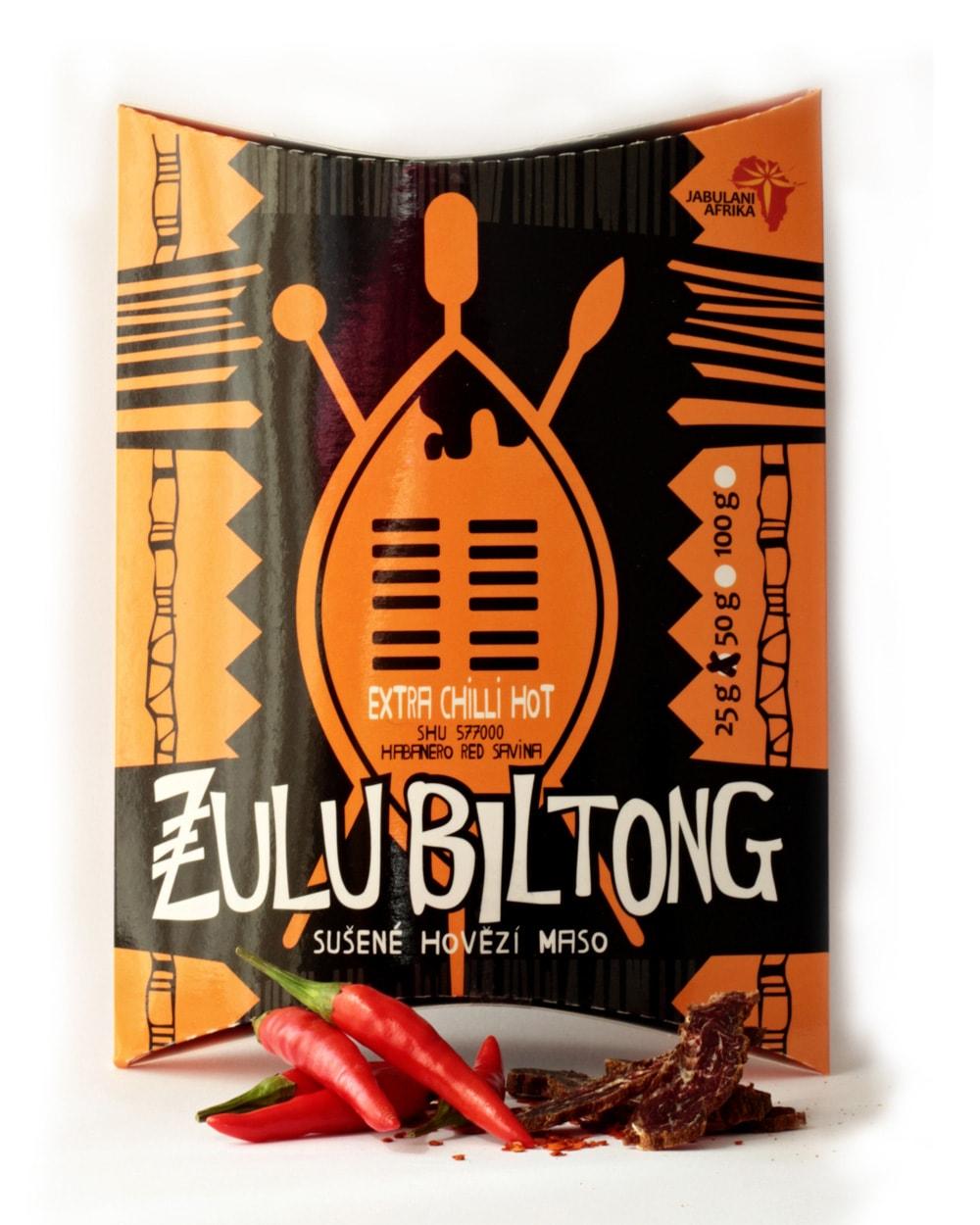 Zulu Biltong   Extra Chilli Hot - hovězí sušené maso