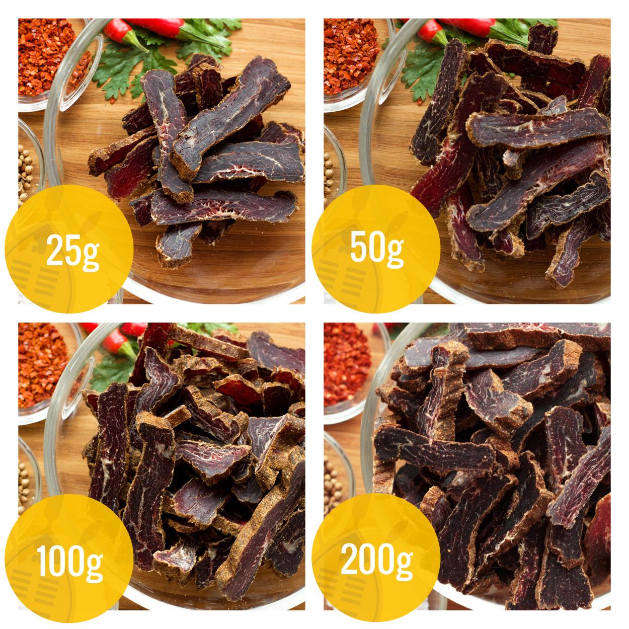 ZULU BILTONG | gramáže - hovězí sušené maso
